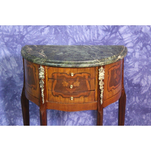 Brown French Louis XV Marble Top End Tables - A Pair For Sale - Image 8 of 8
