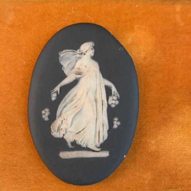Transitional Antique Framed Black Basalt Cameos on Velvet For Sale - Image 3 of 8