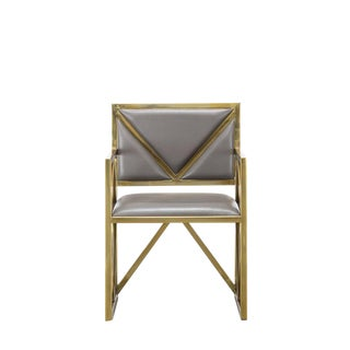 Contemporary Gray Leather X Arm Chair