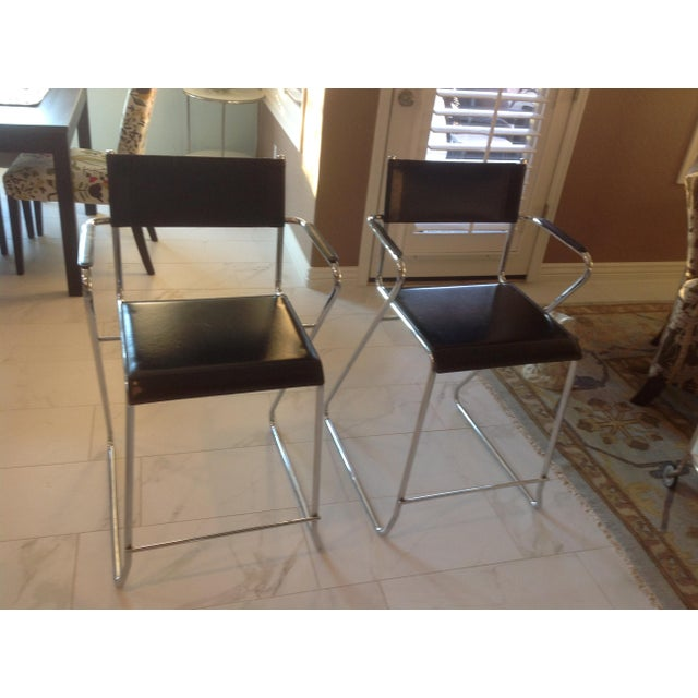 Silver Mid-Century Chrome and Black Leather Counter Z Bar Stools - a Pair For Sale - Image 8 of 8