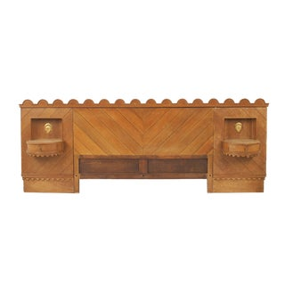 French Midcentury '1940s' Oak Headboard For Sale