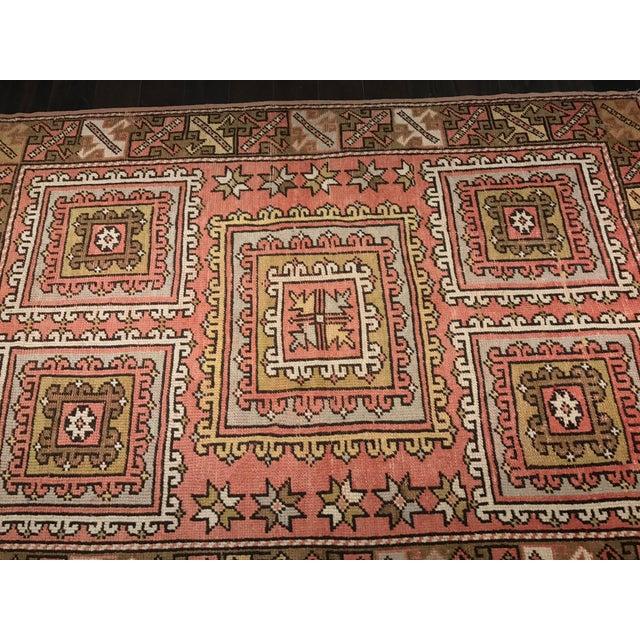 "Vintage Square Pattern Turkish Oushak Rug - 4'2"" x 6' - Image 3 of 11"