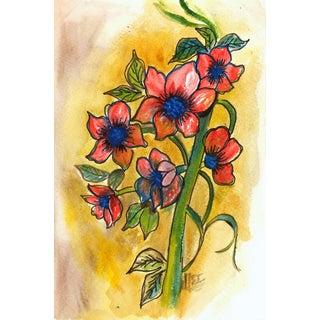 Watercolor Still Life Painting - Flores De Navidad For Sale