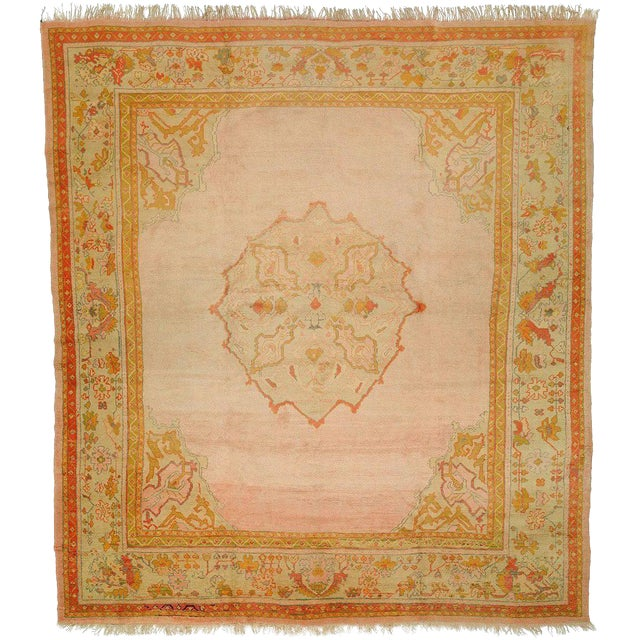 Bright Pink Antique Turkish Oushak Rug, 11' X 12'2'' For Sale