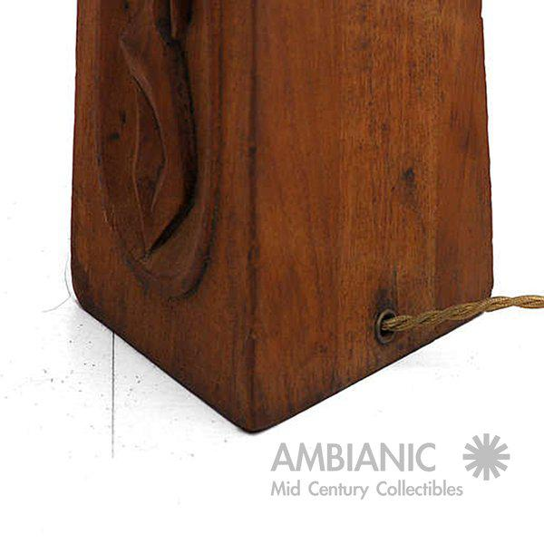 Asian Geisha Mahogany Table Lamp For Sale - Image 3 of 8