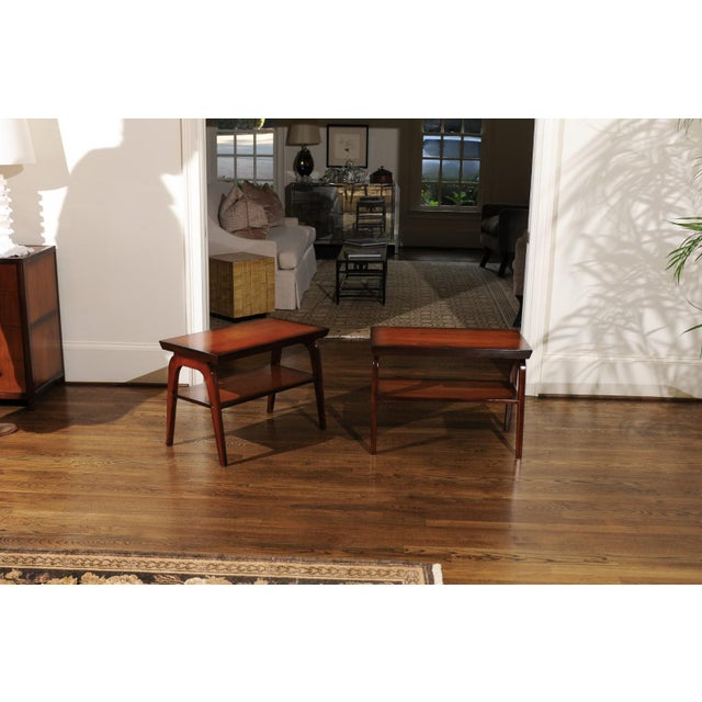 Ficks Reed 1954 Restored Pair of End Tables by John Wisner for Ficks Reed For Sale - Image 4 of 13