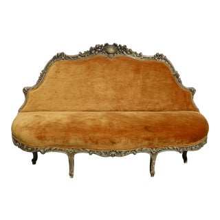 Vintage French Provincial Louis XVI Rococo Ornately Carved Wood Orange Settee For Sale