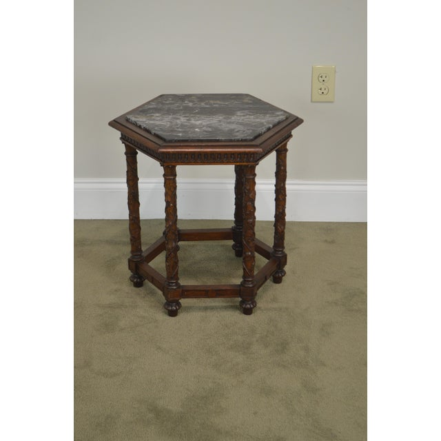 Marble Antique Italian Carved Walnut Hexagon Marble Top Taboret Side Table For Sale - Image 7 of 13