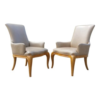 Vintage Regency Style High Back Leather Armchairs - a Pair