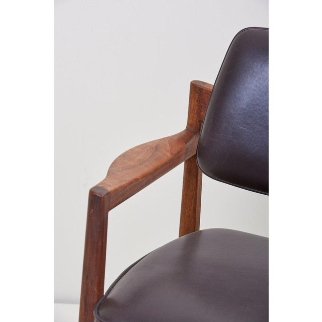 Black Jens Risom Armchair in Walnut and Leather by Jens Risom Inc. For Sale - Image 8 of 11