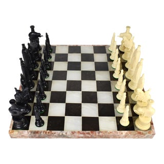 Vintage Gallant Knight Kingsway Florentine Chess Set With Handmade Double Sided Marble Stone Board For Sale