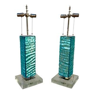 Blue Italian Glass Lamps - A Pair