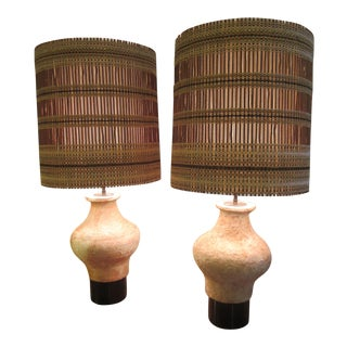 Billy Haines Monumental Etruscan Lamps With Maria Kipp Shades