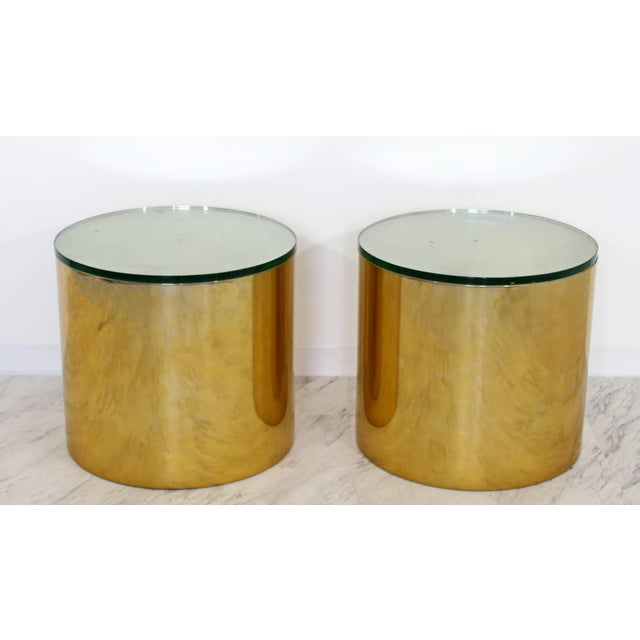Exceptional Mid Century Modern Pair Brass Round Drum Side Tables - Brass drum side table