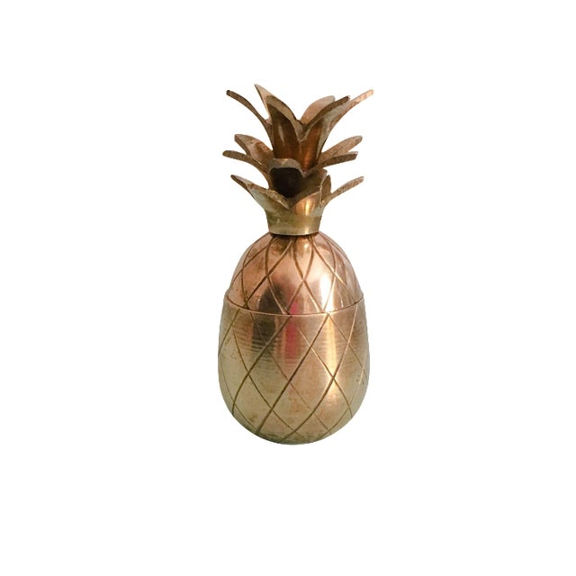 "3.5"" Petite Brass Pineapple Container - Image 1 of 6"