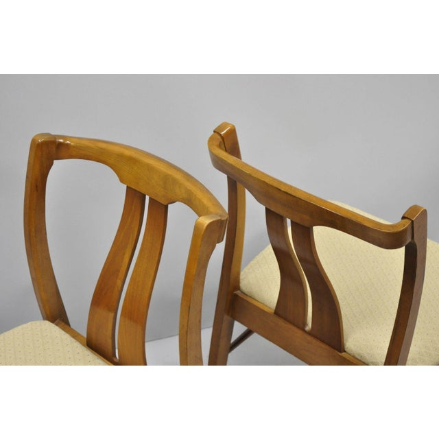 Wood Vintage Mid-Century Modern Curved Back Walnut Dining Chairs - Set of 4 For Sale - Image 7 of 12