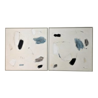 Abstract Paintings Blue, Black, White, and Beige For Sale
