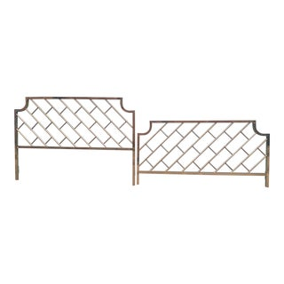 Brass Lattice Hollywood Regency King Headboard & Footboard For Sale