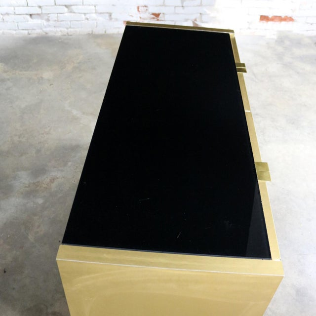 Ello Black Glass and Gold Anodized Aluminum Small Server Credenza Cabinet For Sale - Image 9 of 13