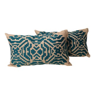 Colefax and Fowler Frida Lagoon Ikat Bolster Pillows - A Pair For Sale