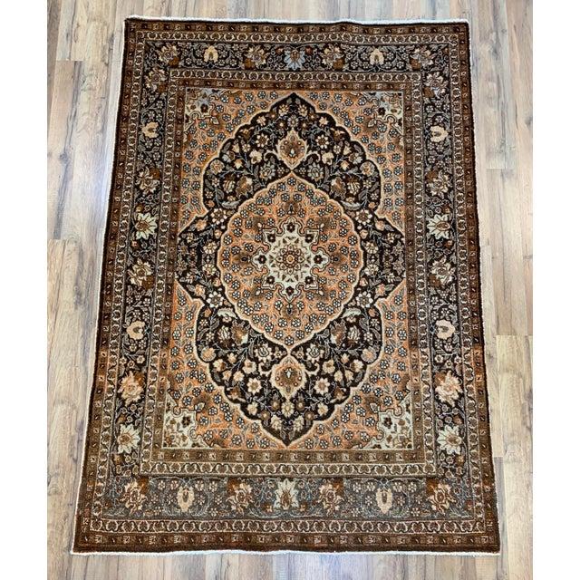 "Antique Persian Tabriz Hajijalili Rug - 4'1""x5'6"" For Sale - Image 12 of 12"