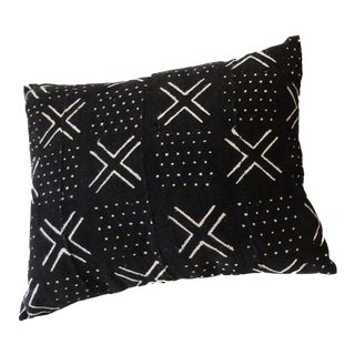 African Mud Cloth Black & White Pillow For Sale