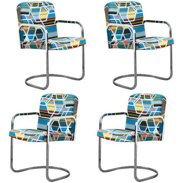 Design Institute of America Set of Four Chairs with Maharam Fabric For Sale - Image 11 of 11
