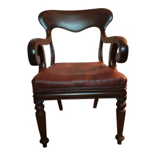 1940s Vintage English Wood Frame and Leather Chair For Sale
