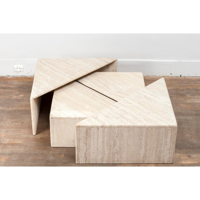 A Large Set of Eight Travertine Elements Forming One or More Coffee Tables For Sale - Image 6 of 11