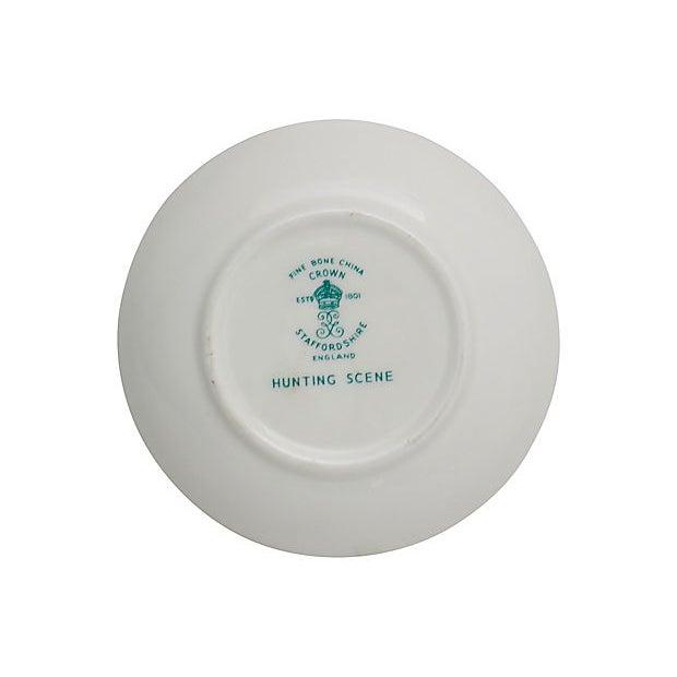 "Crown Staffordshire China porcelain English ""Hunting Scene"" butter pat. Maker's mark on underside. Light wear."
