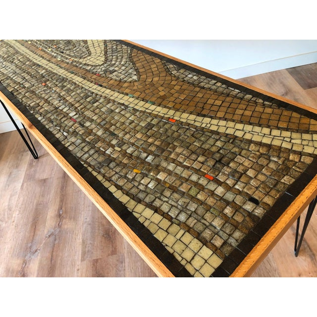 Mosaic Vintage Wood Framed Tile Mosaic Sofa Table With Hairpin Legs For Sale - Image 7 of 13