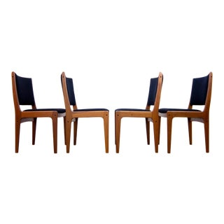 Johannes Andersen Teak Dining Chairs Upholstered in Black Boucle - Set of 4 For Sale