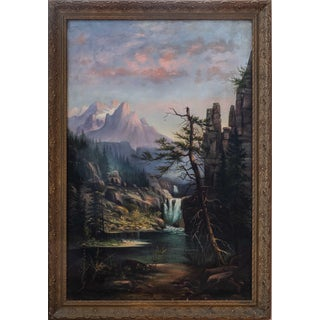 Early 20th Century Mountain Landscape Painting by J.J. Troughton, Framed For Sale