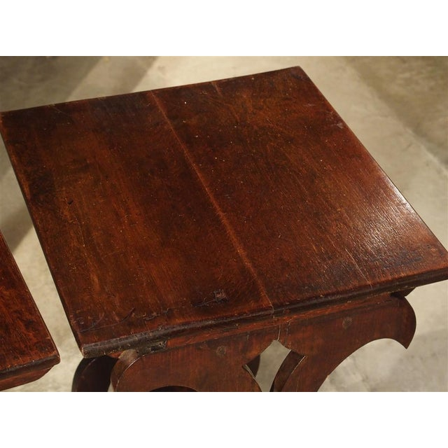 Wood Pair of Antique Italian Nesting Tables, C. 1900 For Sale - Image 7 of 13