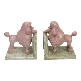 Pink Cast Iron Poodle Bookends - A Pair For Sale