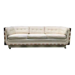 Vintage Palm Beach Regency Brass & Bamboo Trim Upholstered Cane Sofa on Casters For Sale