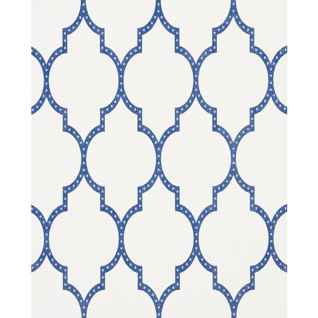 Schumacher Algier's Paperweave Wallpaper in Blue For Sale