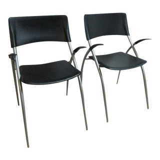 Calligaris Leather Atomic Floating Arm Chairs - A Pair For Sale