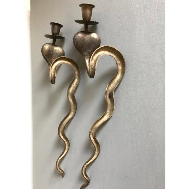 Contemporary Vintage Brass Cobra Wall Sconces - a Pair For Sale - Image 3 of 4