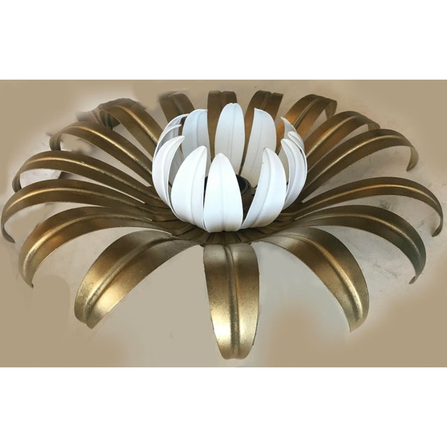 Italian flush mount by Banci figuring a flower 60W per bulb US rewired and in working condition 5 available.