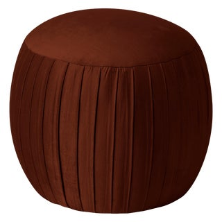 Round Shirred Ottoman in Majestic Cedar For Sale