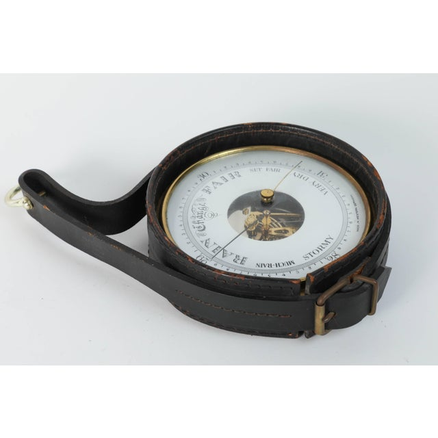 1940s Brass German Barometer with Readings in English Wrapped in Leather For Sale - Image 5 of 5