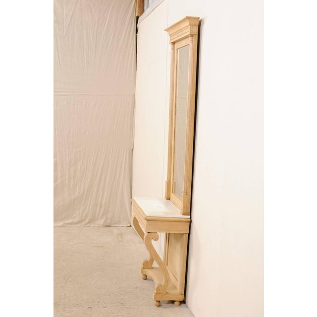 White Swedish Empire Period Elm Wood Console With Marble Top From Early 19th Century For Sale - Image 8 of 11