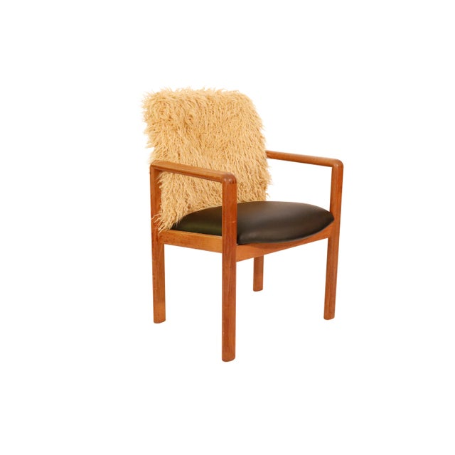 Wood Mid-Century Curated Danish Teak Armchair With Mongolian Faux Fur 1970's Circa For Sale - Image 7 of 7
