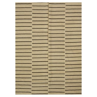 Brown & Ivory Indian Kilim - 5′7″ × 8′1″ For Sale