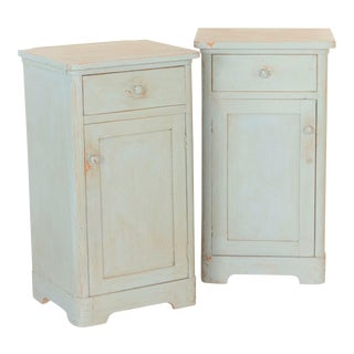 Antique Original Blue Painted Cabinet-a Pair For Sale