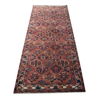 "Rare Sized Antique Persian Vakhtiar Wide Runner - 3'8"" X 9'7"""