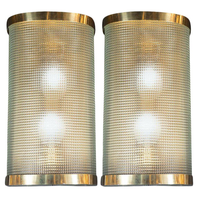 Mid-Century Modern Brass Wrapped Sconces With Rectilinear Textured Glass Shades - a Pair For Sale