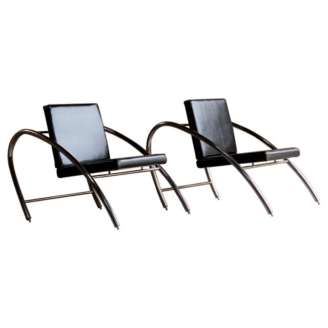 Moreno Chrome & Leather Lounge Chairs by Francois Scali & Alain Domingo for Nemo - A Pair For Sale - Image 12 of 12