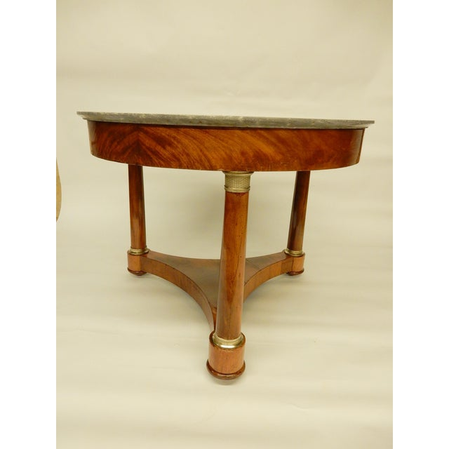 Very nice walnut patina and quality bronze. Light gray marble top